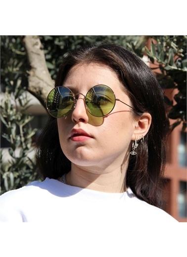 Optoline Opc 17008 05 Yuvarlak Kahv  Gövde Polarize Cam Kadın Güneş Gözlüğü Yeşil